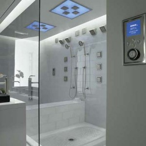 shower with built in controls