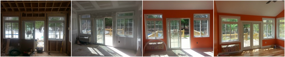 Sunroom Patio Door Start to Finish Collage