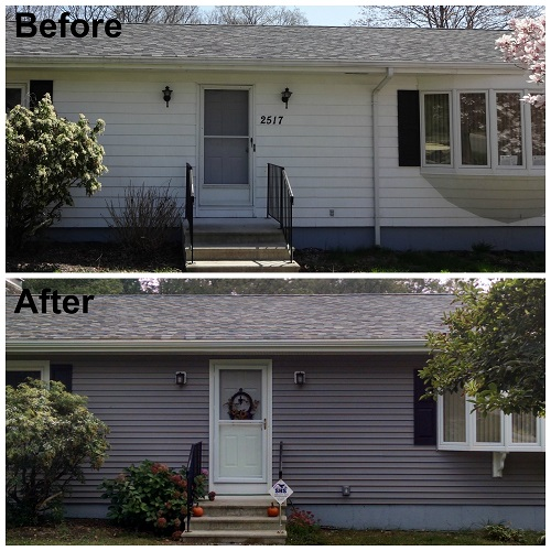 Dighton Ma Ranch Gets Harbor Grey Vinyl Siding