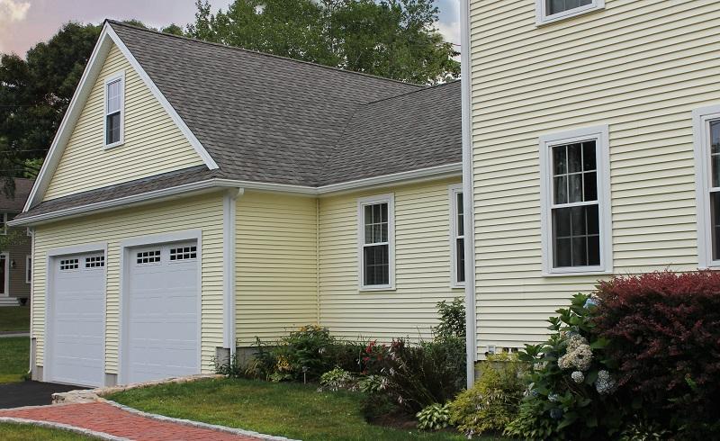 Harvey Windows, CertainTeed Roofing, Mastic Siding on Garage Addition, Fairhaven, MA